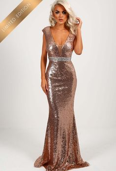 Limited Edition Spell Bound Rose Gold Sequin Maxi Dress