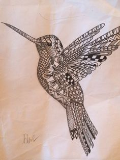 Zentangle Hummingbird I designed