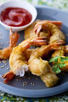 Tempura of shrimp with sesame Shrimp Fritters, Prawn Shrimp, Shrimp Tempura, Beignets, Shrimp Recipes, Entrees, Nom Nom, Food Porn, Recipes