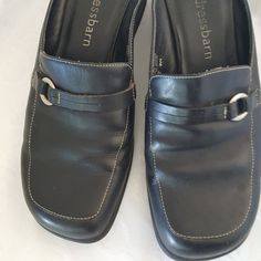 Dress barn Dressbarn Footwear Black Leather Clogs Mules Womens 8W #Dressbarn #Clogs #Casual