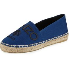 Kenzo Logo Canvas Espadrille Flat (770 RON) ❤ liked on Polyvore featuring shoes, flats, bleu france, slip on shoes, traction shoes, slip on flats, canvas flat shoes and canvas footwear