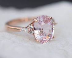 Featured listing image: Blush sapphire engagement ring. Light peach pink sapphire 3.45ct oval diamond ring 14k Rose gold. Campari Engagement ring by Eidelprecious