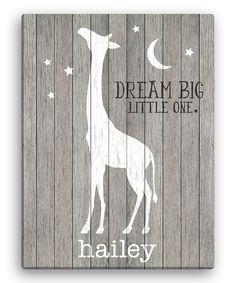 Look at this #zulilyfind! Gray Giraffe 'Dream Big Little One' Personalized Giraffe Canvas by Personalized Planet #zulilyfinds