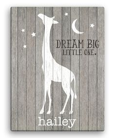 Look what I found on #zulily! Gray Giraffe 'Dream Big Little One' Personalized Giraffe Canvas by Personalized Planet #zulilyfinds