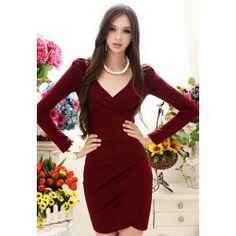 $10.65 Elegant Style V-Neck Side Pleated Design Long Sleeve Cotton Blend Dress For Women