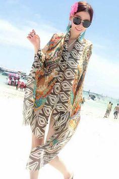 225391aa56 women vestido saida de praia summer Beach Dress Beach Cover Up Bikini Wrap  Print beachwear Chiffon Sarong pareo praias livres