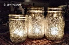 Put glitter on mason jar and put candle on inside would be cool idea for the back yard