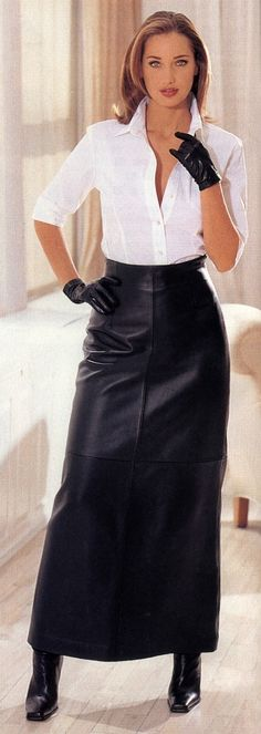 Leather can also lead a very classic life as this skirt and blouse combo demonstrates - still sensual.
