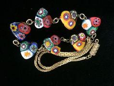 Vintage Italy Murano Glass Millefiori Heart Bead Necklace Venetian Rare #Millefiori