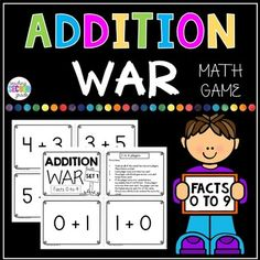 Addition WarFacts 0 to 9FREEBIEWant to add a little fun into learning and memorizing math facts, then this WAR game is just what your kiddos need. This game can be played with 2 to 4 players.Directions:1.  Deal out all of the cards face down to players.