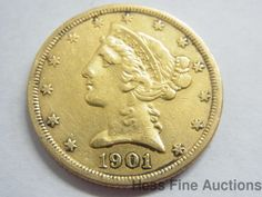 1901-S United States Liberty Coronet Half Eagle Five Dollar Gold Coin