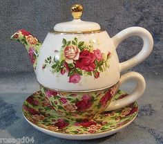 Royal-Albert-Chintz-Old-Country-Roses-Tea-For-One-Tea-Pot-Cup-Saucer-NEW-Boxed