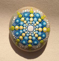 Blue Mandala Painted Stone  Adriatic /Gift / by CreateAndCherish