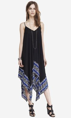 TRAPEZE HANDKERCHIEF HEM MAXI DRESS | Express  Not sure if this would look good on me.  But I love it on her.