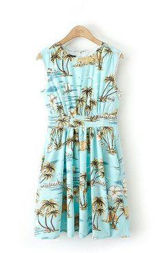 Palm Trees Printing Blue Sleeveless Beach Dress