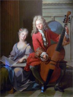 Jean-Marc Nattier (French, 1685-1766) ~ The Music Lesson ~ 1710 ~ Jean-Marc Nattier, French painter, was born in Paris, the second son of Marc Nattier, a portrait painter, and of Marie Courtois, a miniaturist. He is noted for his portraits of the ladies of King Louis XV's court in classical mythological attire.