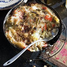 Bubble and Squeak - a traditional English dish made with the shallow-fried leftover vegetables from a roast dinner. The main ingredients are potato and cabbage, but carrots, peas, Brussels sprouts, or any other leftover vegetables can be added. The chopped vegetables (and cold chopped meat if used) are fried in a pan together with mashed potatoes or crushed roast potatoes until the mixture is well-cooked and brown on the sides.