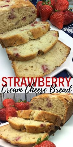 This moist fresh Strawberry Cream Cheese Bread is light, fluffy, and packed with sweet strawberry and cream cheese flavor! Perfect for breakfast, snack and dessert! Strawberry Cream Cheese Dessert, Frozen Strawberry Desserts, Strawberry Bread Recipes, Strawberry Breakfast, Cream Cheese Desserts, Cream Cheese Recipes, Strawberries And Cream, Cream Cheese Bread, Bread Appetizers
