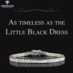 "Drape your arm in #Diamonds to accent your ""little black dress"".  #TennisBracelet #DateNight"