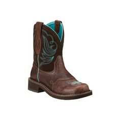 Women's Ariat Fatbaby Heritage Dapper Boot - Royal Chocolate/Fudge... ($90) ❤ liked on Polyvore featuring shoes, boots, cowboy boots, brown, casual, square toe western boots, leather cowboy boots, brown suede boots and square toe boots
