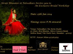 Shruti Bhandari & Talwalkars Invites you to an exclusive bridal workshop in association with Food and Fads.
