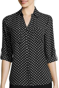 Pin for Later: Channel Your Inner Lou With These Outfits Inspired by Me Before You  By & By 3/4-Sleeve Button-Front Polka-Dot Shirt ($46)
