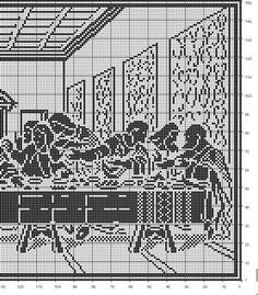 Last Supper (side Cross stitch or filet crochet. Thread Crochet, Knit Or Crochet, Crochet Doilies, Crochet Stitches, Crochet Patterns Filet, Doily Patterns, Religion, Cross Stitching, Cross Stitch Embroidery