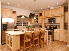 kitchen paint colors with honey maple cabinets | kitchen