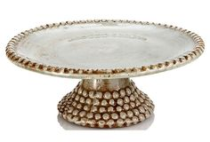 Ceramic Beaded Cake Stand Gray, Large on OneKingsLane.com