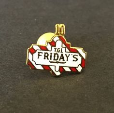 TGI Friday's Employee 10 YR Lapel Pin, Tie Tack, Hat Pin to buy click image #Art_Vintage4Lynn #Ebay #RestaurantMemorabilia #VintageRestaurant #TGIFridaysMemorabilia #TGIFridays #RestaurantSigns #EmployeeRecognitionPin
