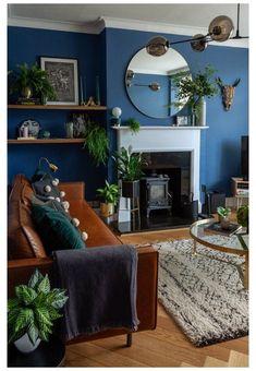 Navy Living Rooms, Dark Blue Living Room, Blue Living Room Decor, Accent Walls In Living Room, Eclectic Living Room, Boho Living Room, Blue Feature Wall Living Room, Dark Blue Lounge, Dark Blue Feature Wall
