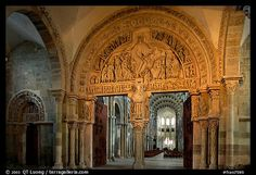 Sculpted doors and typhanum inside the Romanesque church of Vezelay. Burgundy, France