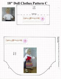 """Free traditional swedish outfit pattern for 18"""" dolls - blouse"""