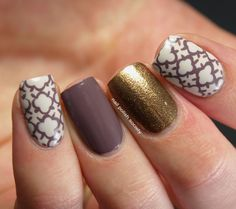 Quatrefoil Skittlette - LOVE the colors of this one.  My favorite nail color ever, Below Deck (it's the purple-y one)