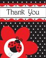 White and black Lady Bug Fancy Thank You Cards and Envelopes