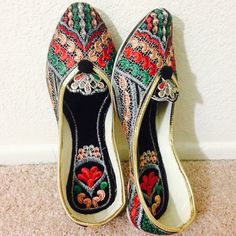 One Hour Sale ❗️ Beautiful Embroidered Shoes New Collection! Medley of beautiful colors. Complete thread work. Detailed embroidery on the inside of the shoe too just to make your friend jealous when you remove them! Tend to expand a bit after 3-4 wears.Super Comfy!  In India, we call these 'jutti'. India collection.   ✅ Price firm unless bundled ✅ 15% off bundles  No Paypal  No Trades Shoes