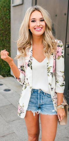 Damen Business Blazer Anzugjacke Blumen Anzug Mantel Strickjacke Outwear M L XL Blazer Outfits, Blazer Fashion, Casual Outfits, Floral Outfits, Classy Shorts Outfits, Cardigan Fashion, Dress Outfits, Girl Outfits, Dress Shoes