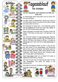 Tagesablauf für Schüler mit Bildern * mit Lösung