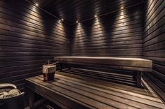Lighting for sauna? Saunas, Sauna Shower, Sauna Design, Outdoor Sauna, Finnish Sauna, Sauna Room, Modern Craftsman, Spa Rooms, A Frame House