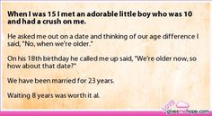 Yes, because he was now also of legal age to consent to actually going on a date w/ someone older than he...