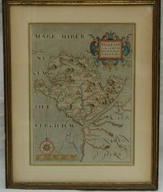 "Antique possibly 16th or 17th Century Mare Hiber Anglesey Anglo Saxon Hand Colored Britannia Map. Measures approximately 14"" x 11"""