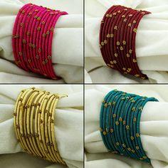 Indian Women Silk Thread Wrapped Churi Bangle Bracelet Set New Fashion Jewelry Silk Thread Bangles Design, Silk Bangles, Bridal Bangles, Thread Jewellery, Fabric Jewelry, Saree Jewellery, Handmade Jewellery, Bangle Set, Bangle Bracelets