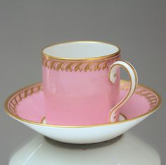 Pretty in PINK: KPM Berlin mocha or espresso cup in pink and relief gold. Made in ca. 1910.