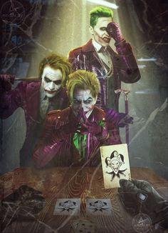 Three Jokers Cover Art Reimagined With Nicholson, Ledger and Leto -Batman: Three Jokers Cover Art Reimagined With Nicholson, Ledger and Leto - Joker Poker Joker Cartoon, Joker Comic, Le Joker Batman, Batman Art, Batman Arkham, Batman Robin, Joker Kunst, Batman Kunst, Art Du Joker