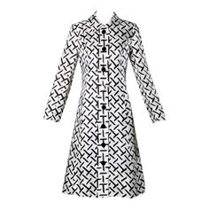 I. Magnin Vintage 1960s Graphic Black + White Print Silk Mod Coat   From a collection of rare vintage coats and outerwear at https://www.1stdibs.com/fashion/clothing/coats-outerwear/