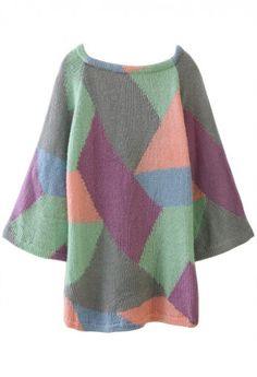 Geometric Color Block Knited Dress