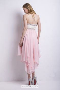 """Sweet strapless Lace Top High-Low Chiffon Dress $119.98"""