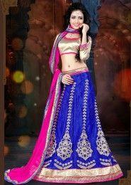 Party Wear Blue Net Embroidered Work Lehenga Choli