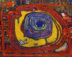 thesavagesgallery:  Friedensreich Hundertwasser (1928-2000) The Tower of Babel Pierces the Sun, 1959.
