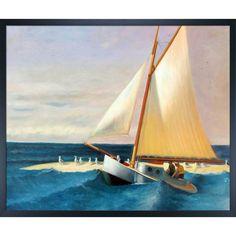 La Pastiche Edward Hopper 'The Martha McKean of Wellfleet' Hand Painted Framed Art
